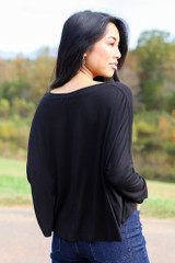 Basic V-Neck Tee in Black Back View