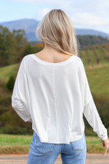 Basic V-Neck Tee in White Back View