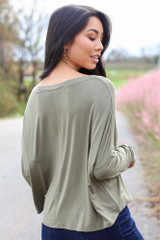 Basic V-Neck Tee in Olive Back View