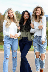 Heather Grey - Models wearing a Basic V-Neck Tee with jeans