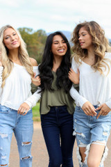 Heather Grey - Dress Up models wearing a Basic V-Neck Tee with jeans