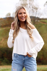 White - Dress Up model wearing a Basic V-Neck Tee with skinny jeans