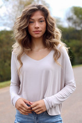 Taupe - Model wearing a Basic V-Neck Tee