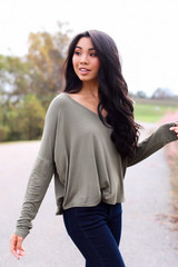 Basic V-Neck Tee in Olive Side View