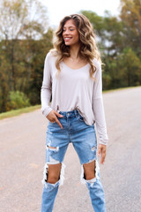 Basic V-Neck Tee in Taupe Side View