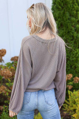 Waffle Knit Top in Taupe Back View
