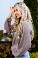 Taupe - Waffle Knit Top from Dress Up