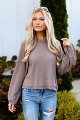 Waffle Knit Top in Taupe Side View
