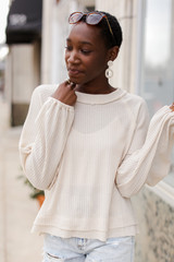 Ivory - Waffle Knit Top Front View