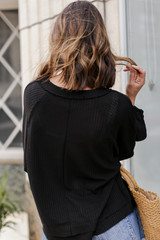 Waffle Knit Top in Black Back View
