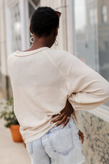 Waffle Knit Top in Ivory Back View
