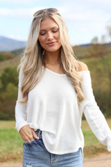 White - Waffle Knit Thermal Top
