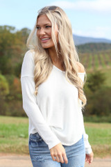 White - Waffle Knit Thermal Top from Dress Up