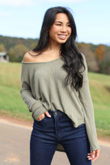 Olive - Waffle Knit Thermal Top Front View