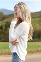 Waffle Knit Thermal Top in White Side View