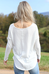 Waffle Knit Thermal Top in White Back View