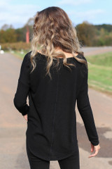 Waffle Knit Thermal Top in Black Back View