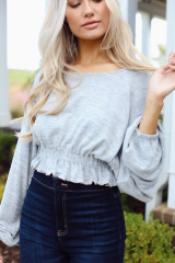 Brushed Knit Crop Top in Grey Side View