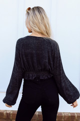 Brushed Knit Crop Top in Black Back View