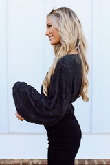 Brushed Knit Crop Top in Black Side View