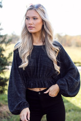 Black - Brushed Knit Crop Top