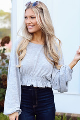 Grey - Model wearing a Brushed Knit Crop Top