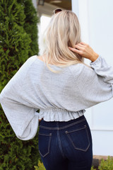 Brushed Knit Crop Top in Grey Back View