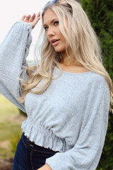 Grey - Dress Up model wearing a Brushed Knit Crop Top