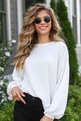 Ivory - Model wearing a Ribbed Balloon Sleeve Pullover