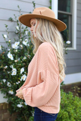 Ribbed Balloon Sleeve Pullover in Blush Side View