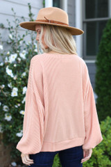 Ribbed Balloon Sleeve Pullover in Blush Back View