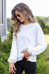 Ribbed Balloon Sleeve Pullover in Ivory Side View