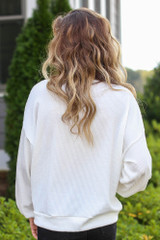 Ribbed Balloon Sleeve Pullover in Ivory Back View