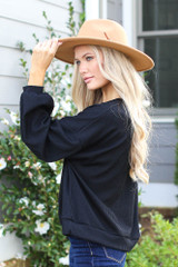 Ribbed Balloon Sleeve Pullover in Black Side View