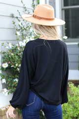 Ribbed Balloon Sleeve Pullover in Black Back View