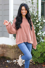 Ribbed Balloon Sleeve Pullover in Rust Front View