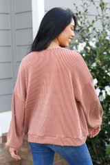 Ribbed Balloon Sleeve Pullover in Rust Back View