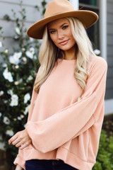 Blush - Ribbed Balloon Sleeve Pullover from Dress Up