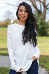 White - Ribbed Knit Top Front View