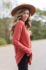 Ribbed Knit Top in Rust Side View
