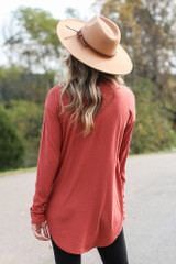 Ribbed Knit Top in Rust Back View