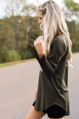Olive - Model wearing a Ribbed Knit Top with skinny jeans