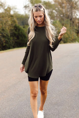 Ribbed Knit Top in Olive Front View