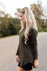 Ribbed Knit Top in Side View