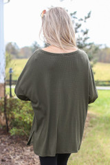 Oversized Front Pocket Top in Olive Back View