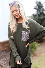 Oversized Front Pocket Top in Olive