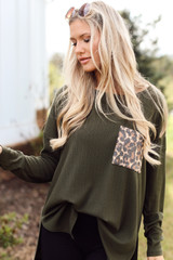 Olive - Oversized Front Pocket Top Front View