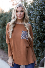 Camel - Model wearing an Oversized Front Pocket Top