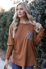 Camel - Dress Up model wearing an Addie Oversized Front Pocket Top
