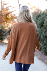 Oversized Front Pocket Top in Camel Back View